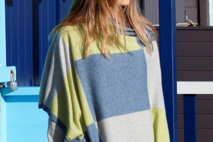 cashmere blend squares poncho in denim