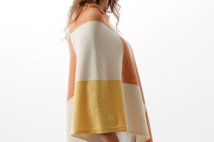cotton squares poncho in apricot